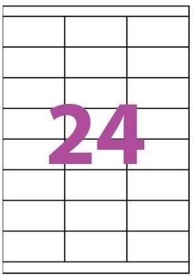 Etiquettes Adhésives Autocollantes 24 par page - 100 pages A4