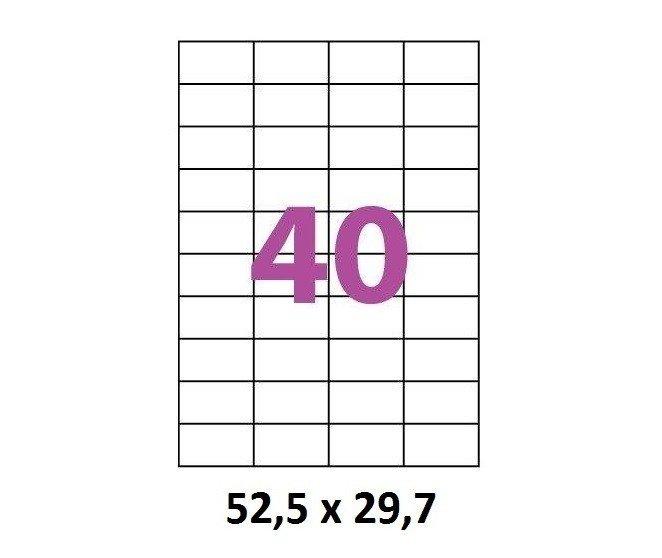 Etiquettes Adhésives Autocollantes 40 par page - 100 pages A4