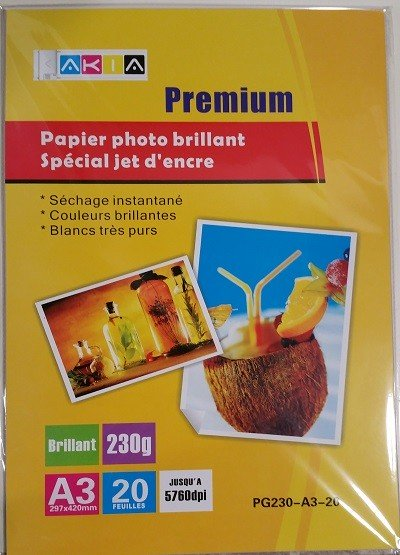 Papiers photo brillant - A3 - 20 feuilles - 230g